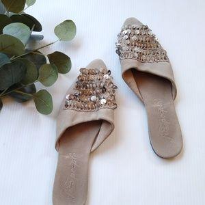 Free People • embellished pointy toe slides mules